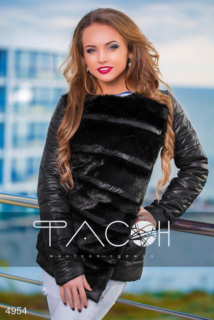 Куртка стеганая с искусственным мехом 4954, цвет: черный 4954