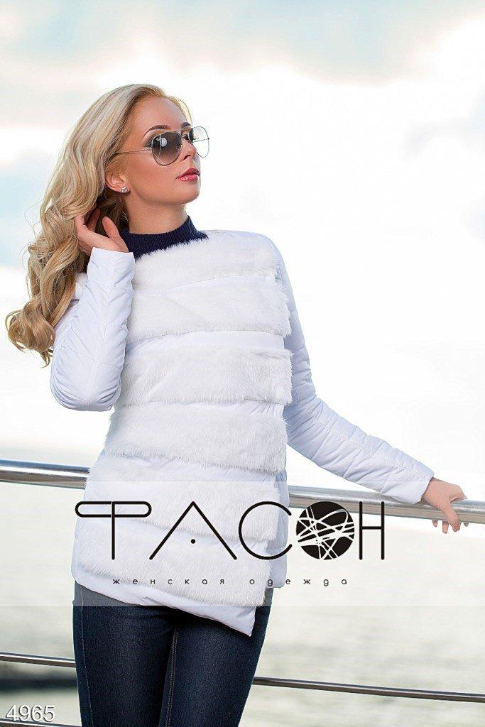 Куртка стеганая с искусственным мехом 4965, цвет: белый 4965