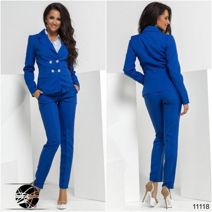 Синий брючный костюм женский купить vdp интернет магазин пуховиков
