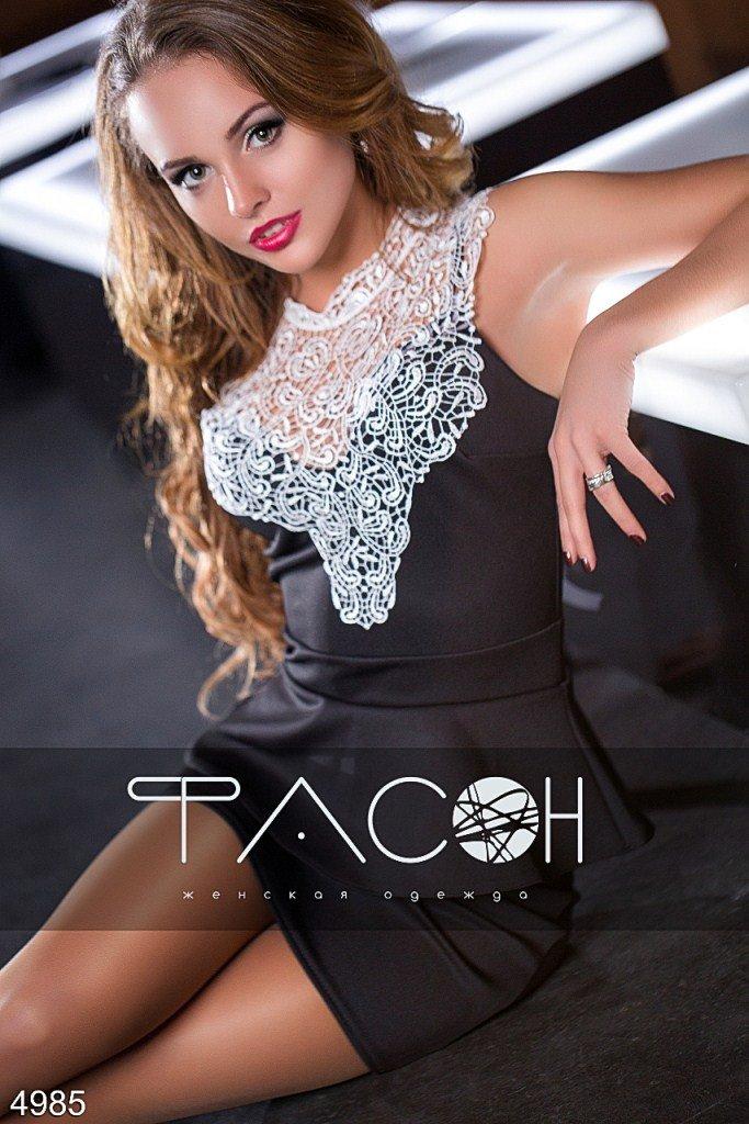 Платье с кружевным лифом 4985 размер 44, 42, 42-44, 44-46 цвет черный - 353 грн.
