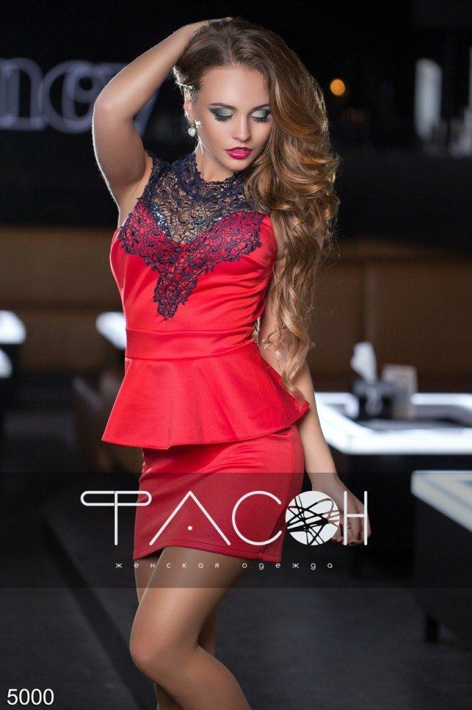 Платье с кружевным лифом 5000 размер 44, 42, 42-44, 44-46 цвет красный - 353 грн.